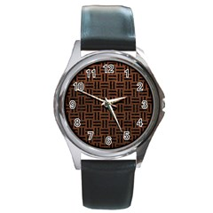 Woven1 Black Marble & Dull Brown Leather Round Metal Watch by trendistuff