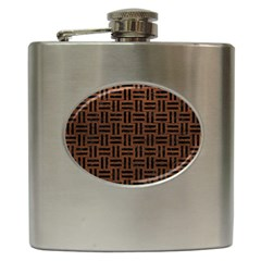 Woven1 Black Marble & Dull Brown Leather Hip Flask (6 Oz) by trendistuff