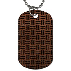 Woven1 Black Marble & Dull Brown Leather Dog Tag (two Sides) by trendistuff