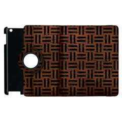 Woven1 Black Marble & Dull Brown Leather Apple Ipad 3/4 Flip 360 Case by trendistuff