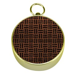 Woven1 Black Marble & Dull Brown Leather Gold Compasses by trendistuff