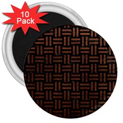 Woven1 Black Marble & Dull Brown Leather (r) 3  Magnets (10 Pack)  by trendistuff
