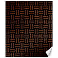 Woven1 Black Marble & Dull Brown Leather (r) Canvas 8  X 10  by trendistuff