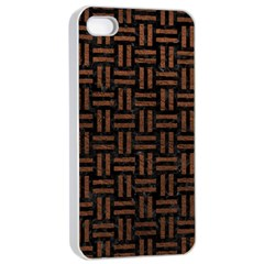 Woven1 Black Marble & Dull Brown Leather (r) Apple Iphone 4/4s Seamless Case (white) by trendistuff