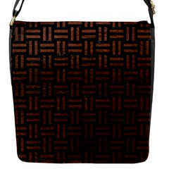 Woven1 Black Marble & Dull Brown Leather (r) Flap Messenger Bag (s) by trendistuff