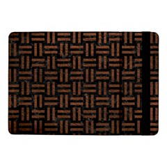 Woven1 Black Marble & Dull Brown Leather (r) Samsung Galaxy Tab Pro 10 1  Flip Case