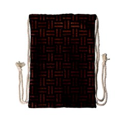 Woven1 Black Marble & Dull Brown Leather (r) Drawstring Bag (small) by trendistuff
