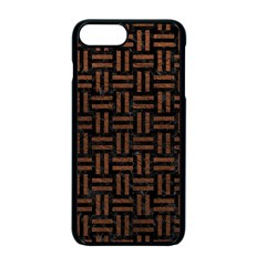 Woven1 Black Marble & Dull Brown Leather (r) Apple Iphone 7 Plus Seamless Case (black)