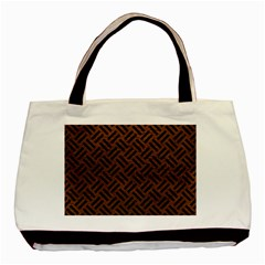 Woven2 Black Marble & Dull Brown Leather Basic Tote Bag by trendistuff