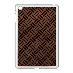 Woven2 Black Marble & Dull Brown Leather Apple Ipad Mini Case (white) by trendistuff