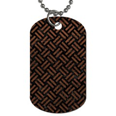 Woven2 Black Marble & Dull Brown Leather (r) Dog Tag (one Side) by trendistuff