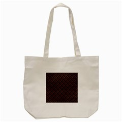 Woven2 Black Marble & Dull Brown Leather (r) Tote Bag (cream) by trendistuff