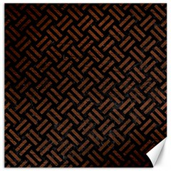 Woven2 Black Marble & Dull Brown Leather (r) Canvas 12  X 12   by trendistuff