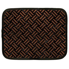 Woven2 Black Marble & Dull Brown Leather (r) Netbook Case (large) by trendistuff