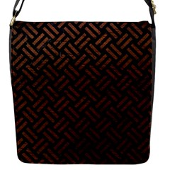 Woven2 Black Marble & Dull Brown Leather (r) Flap Messenger Bag (s) by trendistuff