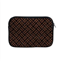 Woven2 Black Marble & Dull Brown Leather (r) Apple Macbook Pro 15  Zipper Case by trendistuff