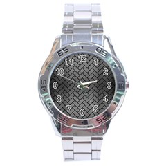 Brick2 Black Marble & Gray Brushed Metal Stainless Steel Analogue Watch by trendistuff