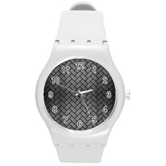 Brick2 Black Marble & Gray Brushed Metal Round Plastic Sport Watch (m)