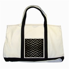 Chevron1 Black Marble & Gray Brushed Metal Two Tone Tote Bag