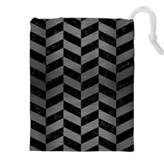 Chevron1 Black Marble & Gray Brushed Metal Drawstring Pouches (xxl) by trendistuff