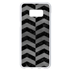 Chevron2 Black Marble & Gray Brushed Metal Samsung Galaxy S8 Plus White Seamless Case by trendistuff