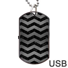 Chevron3 Black Marble & Gray Brushed Metal Dog Tag Usb Flash (one Side) by trendistuff