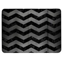Chevron3 Black Marble & Gray Brushed Metal Samsung Galaxy Tab 7  P1000 Flip Case by trendistuff