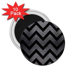 Chevron9 Black Marble & Gray Brushed Metal 2 25  Magnets (10 Pack)  by trendistuff