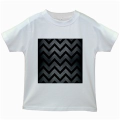 Chevron9 Black Marble & Gray Brushed Metal Kids White T Shirts by trendistuff