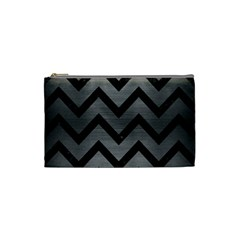 Chevron9 Black Marble & Gray Brushed Metal Cosmetic Bag (small)
