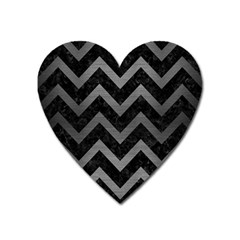 Chevron9 Black Marble & Gray Brushed Metal (r) Heart Magnet by trendistuff