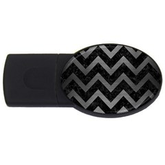 Chevron9 Black Marble & Gray Brushed Metal (r) Usb Flash Drive Oval (2 Gb)