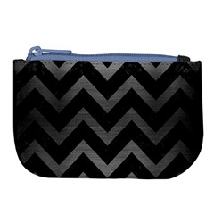 Chevron9 Black Marble & Gray Brushed Metal (r) Large Coin Purse by trendistuff
