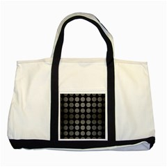 Circles1 Black Marble & Gray Brushed Metal (r) Two Tone Tote Bag