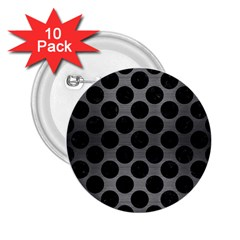 Circles2 Black Marble & Gray Brushed Metal 2 25  Buttons (10 Pack)  by trendistuff