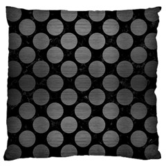 Circles2 Black Marble & Gray Brushed Metal (r) Large Cushion Case (two Sides) by trendistuff