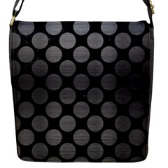 Circles2 Black Marble & Gray Brushed Metal (r) Flap Messenger Bag (s) by trendistuff