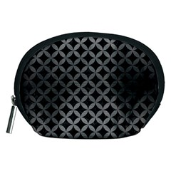 Circles3 Black Marble & Gray Brushed Metal (r) Accessory Pouches (medium)  by trendistuff