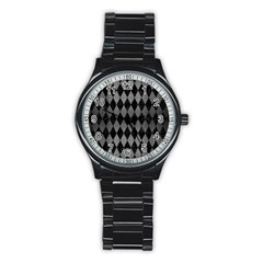 Diamond1 Black Marble & Gray Brushed Metal Stainless Steel Round Watch by trendistuff
