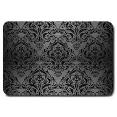Damask1 Black Marble & Gray Brushed Metal Large Doormat  by trendistuff
