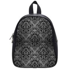 Damask1 Black Marble & Gray Brushed Metal School Bag (small) by trendistuff