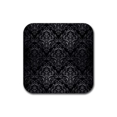 Damask1 Black Marble & Gray Brushed Metal (r) Rubber Square Coaster (4 Pack)  by trendistuff