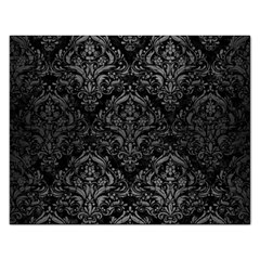 Damask1 Black Marble & Gray Brushed Metal (r) Rectangular Jigsaw Puzzl by trendistuff