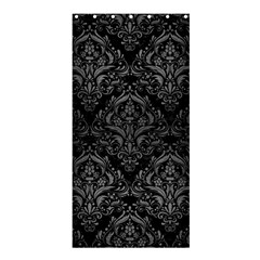 Damask1 Black Marble & Gray Brushed Metal (r) Shower Curtain 36  X 72  (stall)  by trendistuff