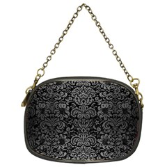 Damask2 Black Marble & Gray Brushed Metal (r) Chain Purses (one Side)  by trendistuff