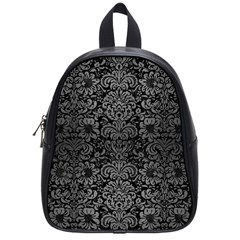Damask2 Black Marble & Gray Brushed Metal (r) School Bag (small) by trendistuff