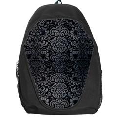 Damask2 Black Marble & Gray Brushed Metal (r) Backpack Bag by trendistuff