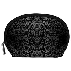 Damask2 Black Marble & Gray Brushed Metal (r) Accessory Pouches (large)  by trendistuff