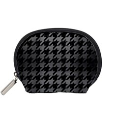 Houndstooth1 Black Marble & Gray Brushed Metal Accessory Pouches (small)  by trendistuff