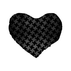 Houndstooth2 Black Marble & Gray Brushed Metal Standard 16  Premium Flano Heart Shape Cushions by trendistuff